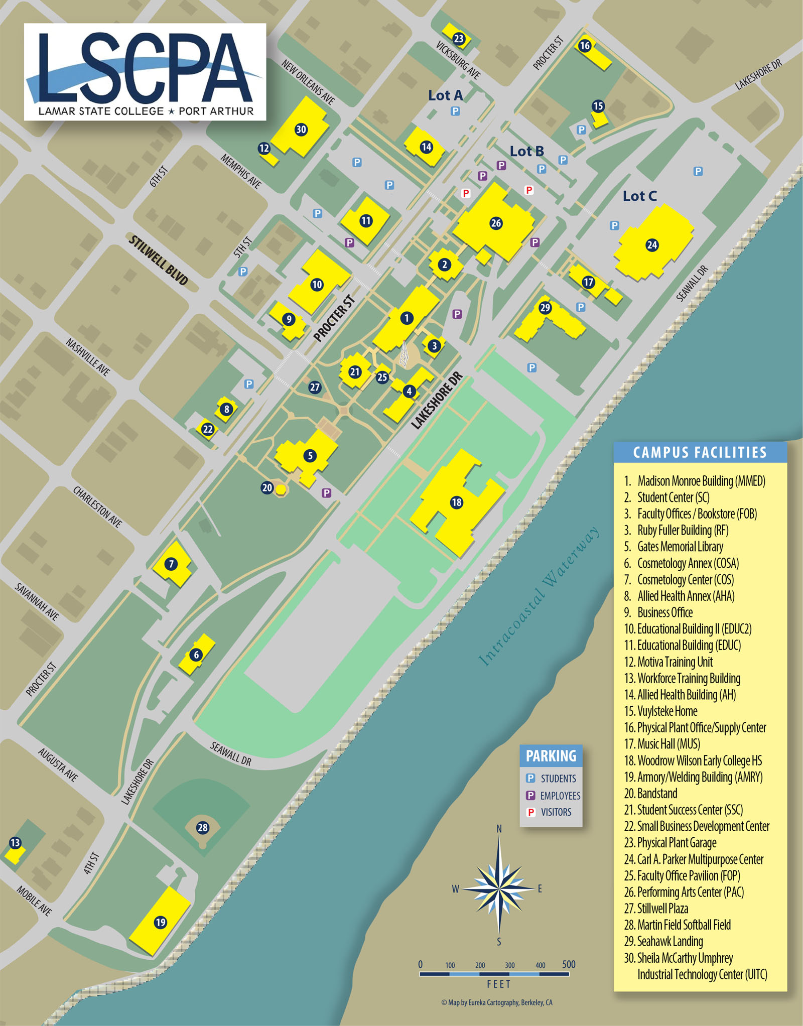 Campus map showing buildings and parking areas.