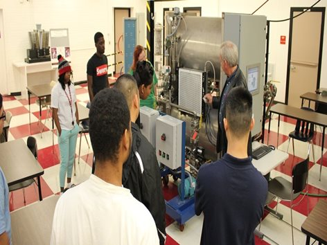 Teacher showing equipment to students.
