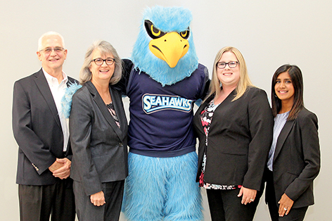Audit Team with Seahawks Mascot