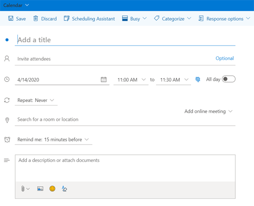 Screen shot from Outlook browser app showing new meeting form.