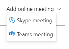 Screen shot from Outlook browser app showing Online Meeting location