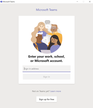 Screen shot of Microsoft Teams app login screen prompting for email address.