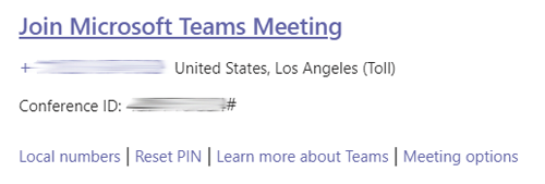 Screen shot showing meeting phone number, conference id number, and organizer management links