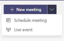 Screen shot from teams browser app showing new meeting button