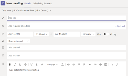 Screen shot from teams browser app showing new meeting form.