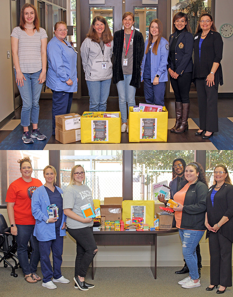 A group of LSCPA students traveled to Chambers County recently to drop off school supplies collected on campus for students impacted by flooding from Tropical Storm Imelda. (TOP PHOTO) Pictured at Hamshire-Fannett Elementary School are, from left, Medical Coding student Lacey Richmond of Groves, Vocational Nursing student Laura Baker of Beaumont, Assistant Principal Monica Kattner, Counselor Kay Duval, Vocational Nursing student Abby Allen of Hamshire, Commercial Music-Performance student Dania Sanchez of Groves, and LSCPA Dean of Technical Programs Dr. Melissa Armentor. (BOTTOM PHOTO) Pictured at East Chambers ISD are, from left, Kelsea Broomas, Project Director for After School Centers on Education with ECISD, Vocational Nursing Student Monique Bruno of Groves, Medical Coding student Brandi Fischer of Winnie, Medical Coding student Carly Purcell of Bridge City, Commercial Music-Sound Engineer student Leatrice Hunt III of Port Arthur, and Dr. Armentor.