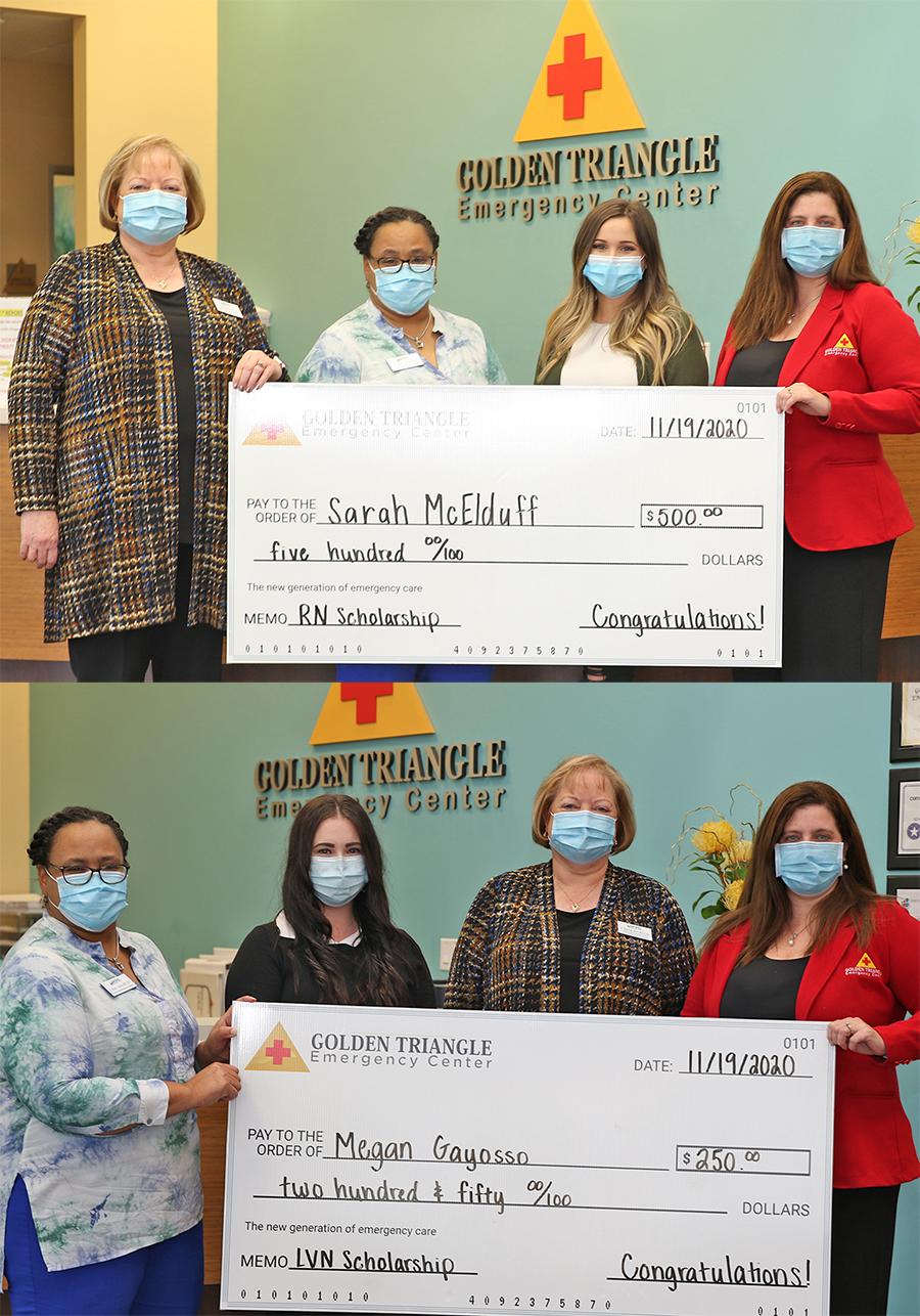 Sarah McElduff, top photo second from right, and Megan Gayosso, second from left bottom photo, are graduates of Lamar State College Port Arthur nursing programs awarded scholarships by Golden Triangle Emergency Center-Port Arthur.